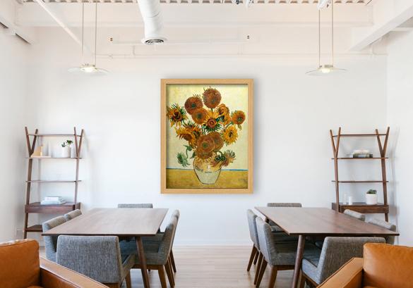 Van Gogh reproductie van Vaas met Vijftien Zonnebloemen in interieur