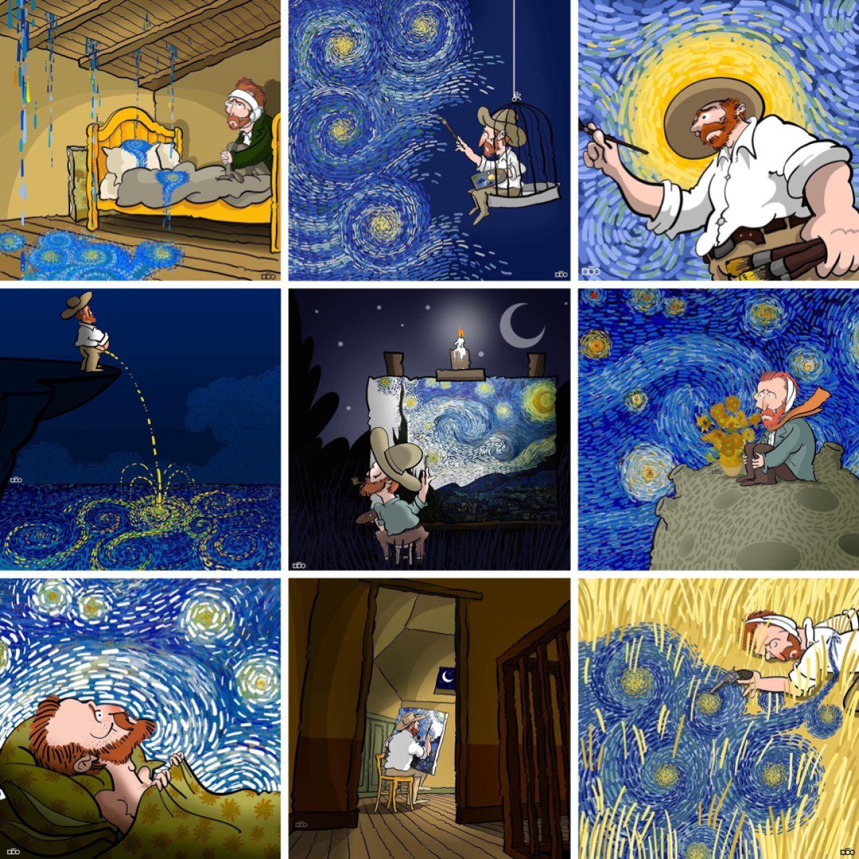 星月夜 ポスター by Alireza Karimi Moghaddam