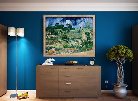 Van Gogh reproductie Cottages met Rieten Daken in interieur