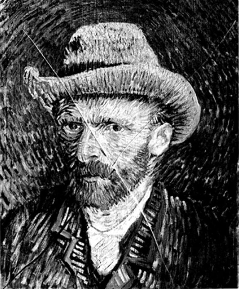 Self-Portrait with Grey Felt Hat damaged with a knife