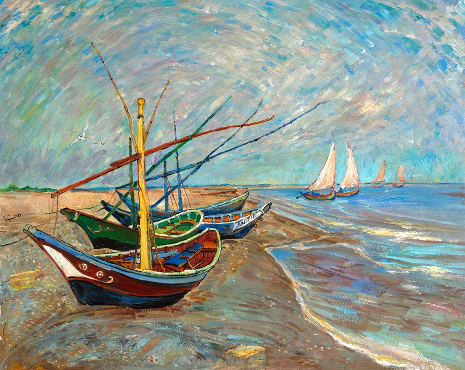 Fishing Boats on the Beach at Saintes-Maries reproduction