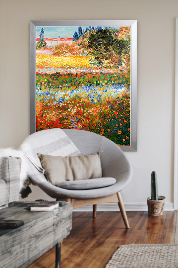Hand-painted reproduction of Flowering Garden in interior