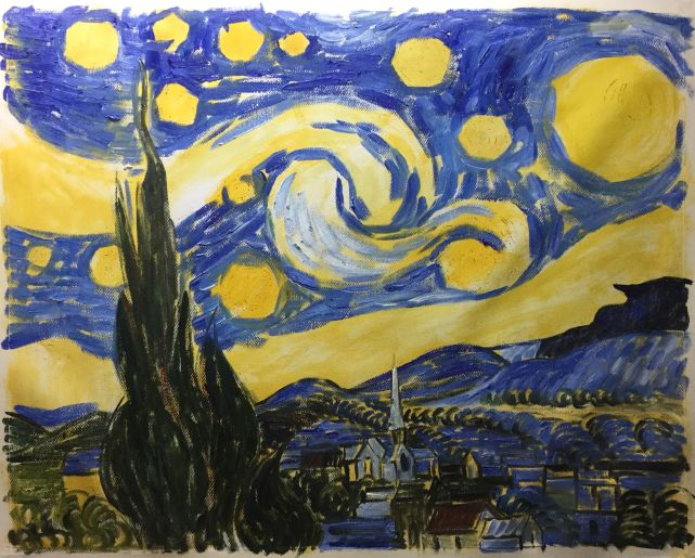Step by step process how to paint starry night