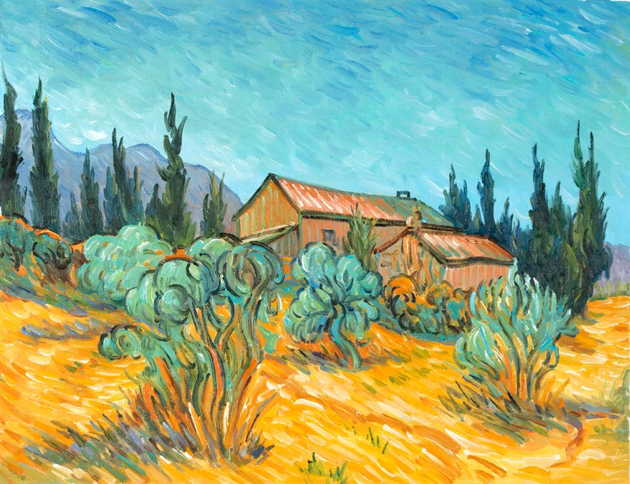 Huts surrounded by Olive Trees and Cypresses Van Gogh reproduction