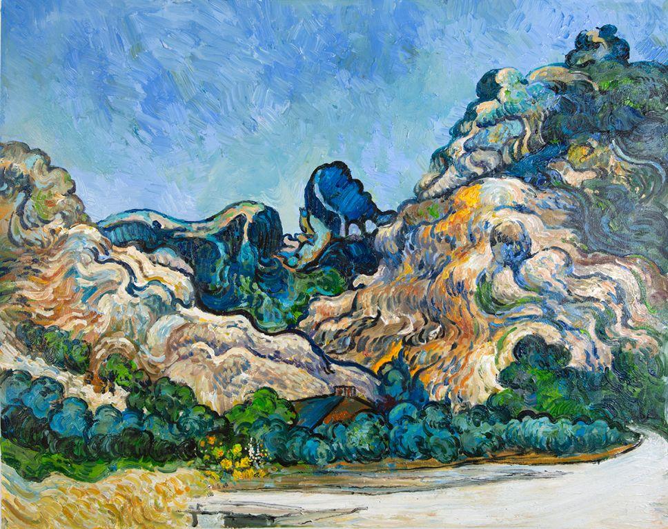 Berglandschap bij Saint-Rémy Van Gogh reproductie
