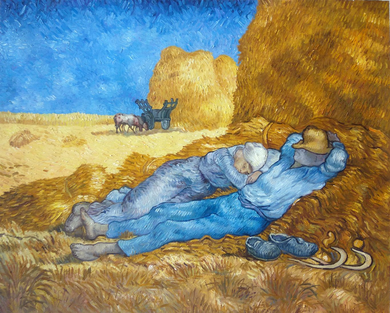 昼:仕事の間の休息(ミレーを模して) 手描き油彩複製画