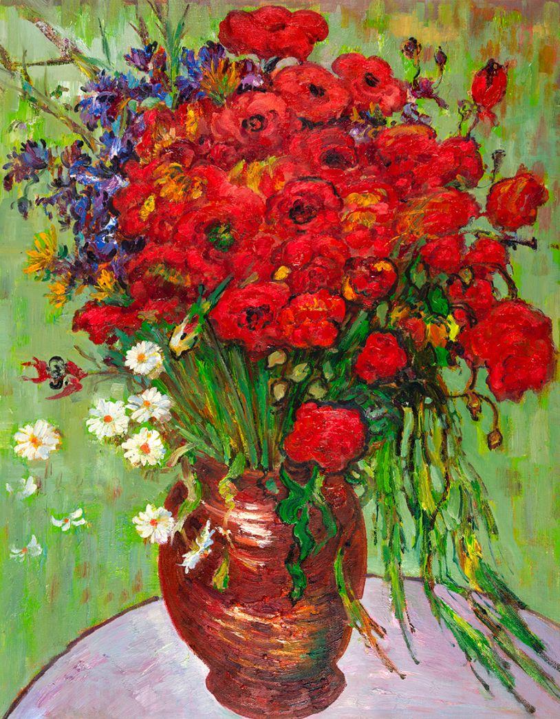 Rode Papavers en Madeliefjes Van Gogh reproductie