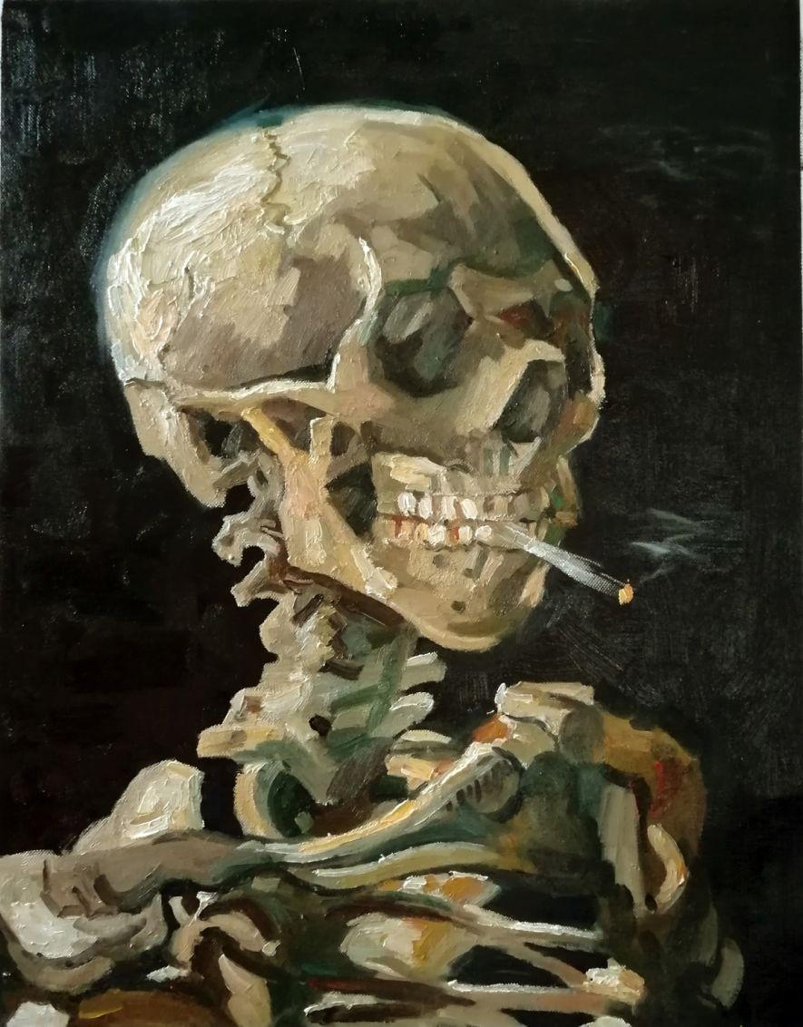 skull van gogh reproduction