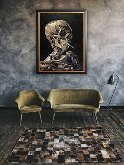 Hand-painted reproduction of Skull with Smoking Cigarette