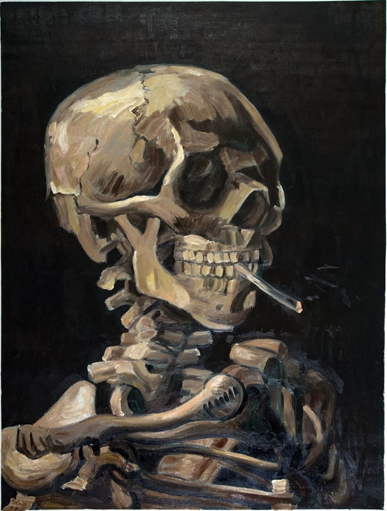 skull van gogh reproduction
