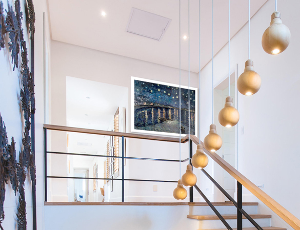 Hand-painted reproduction of Starry Night over the Rhone in interior