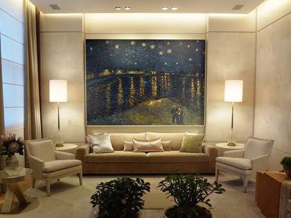 Hand-painted reproduction of Starry Night over the Rhone