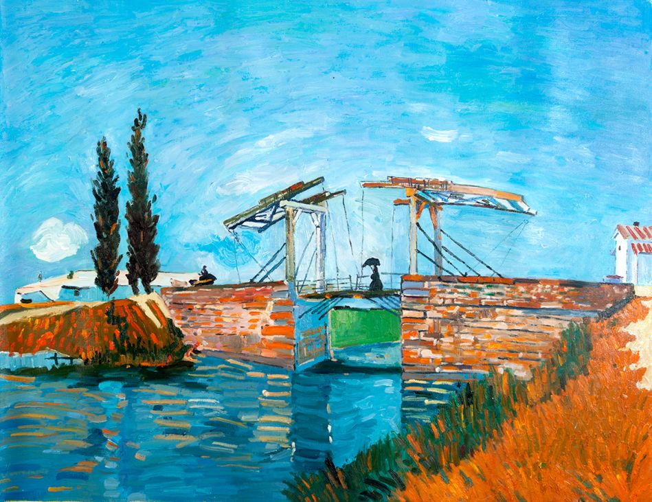 The Langlois bridge with a lady with a parasol Van Gogh reproduction