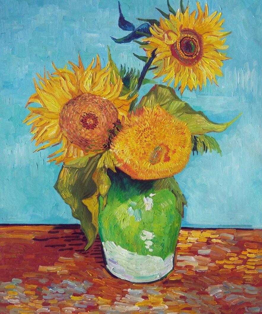 Drie Zonnebloemen in een Vaas Van Gogh reproductie