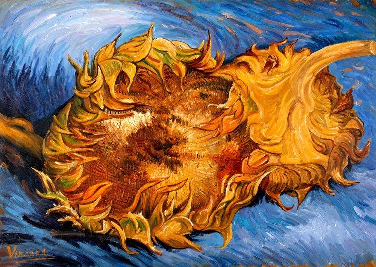 Van Gogh two cut sunflowers