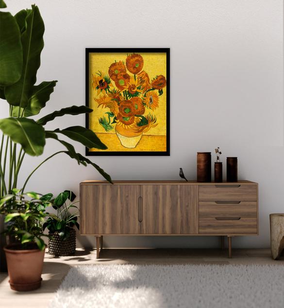 Van Gogh reproductie van Vaas met Vijftien Zonnebloemen in interieur.
