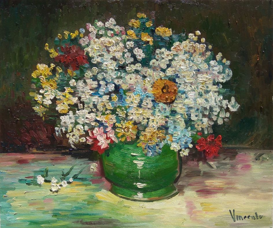 Vase with Zinnias and Other Flowers Van Gogh reproduction