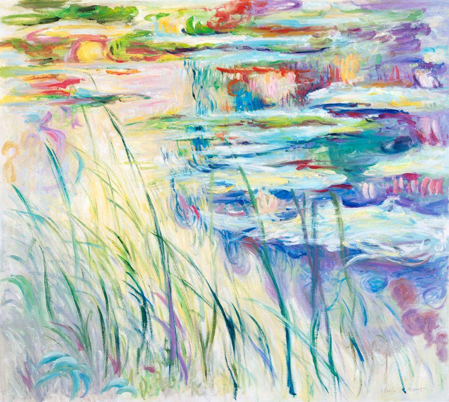 Waterlelies, reflecties op het water, Monet reproductie