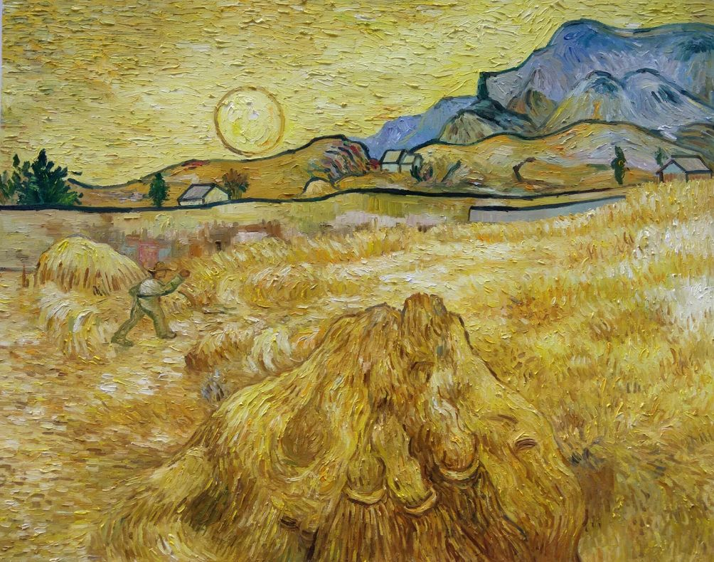 Wheat field with reaper and sun Van Gogh reproduction