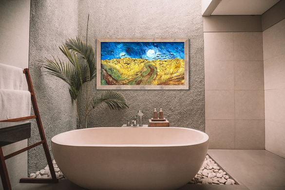 Van Gogh reproductie Korenveld met Kraaien in interieur