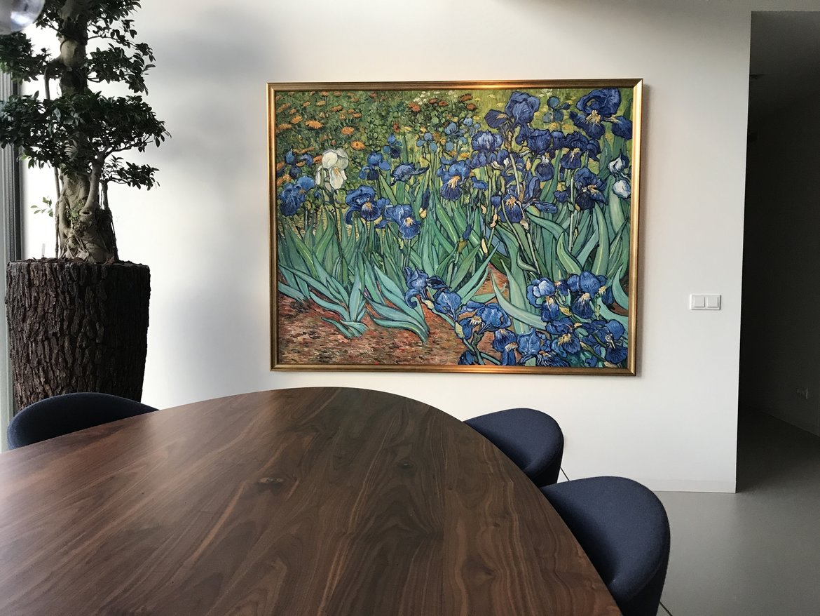Hand-painted reproduction of Irises in interior
