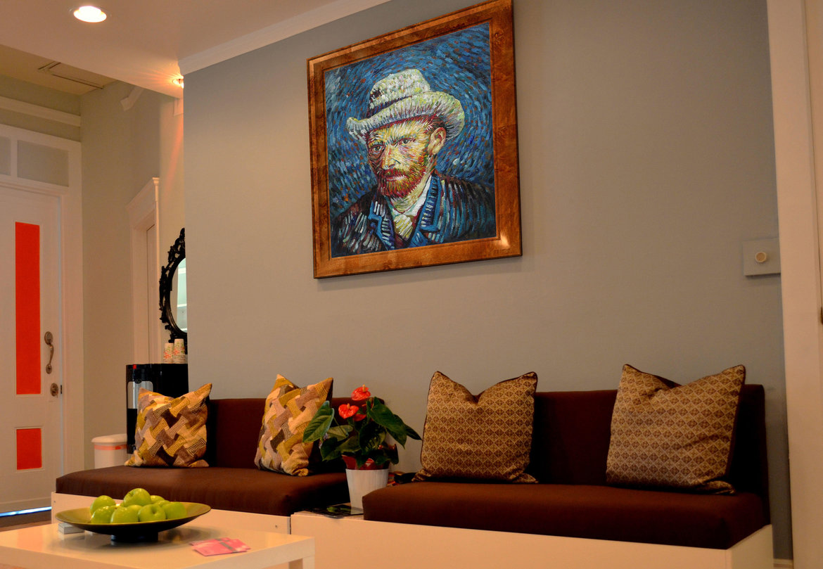 Hand-painted reproduction of Self-Portrait with Grey felt Hat in interior