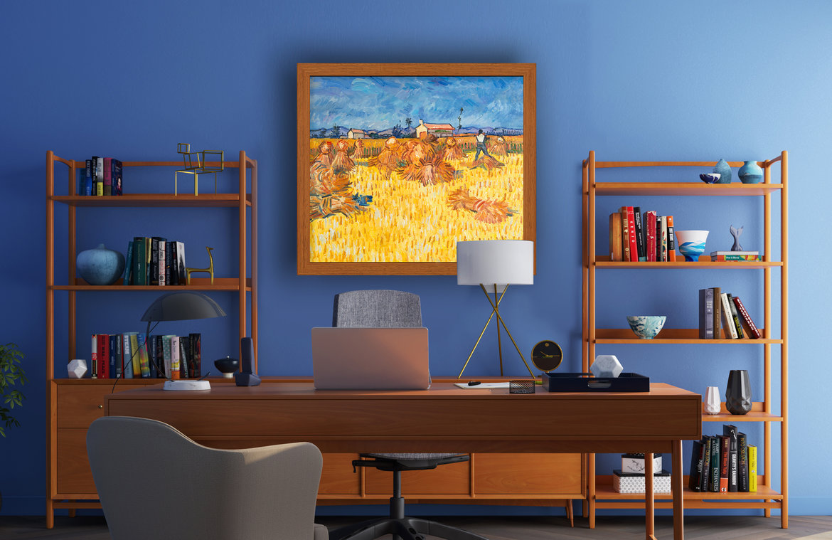 Hand-painted reproduction of Harvest in Provence in interior.