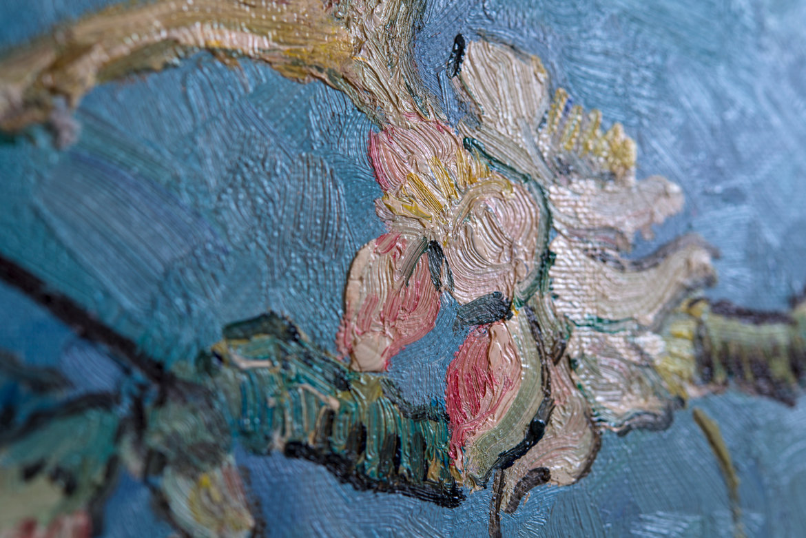 hand-painted Van Gogh reproduction blossoming Almond Tree detail