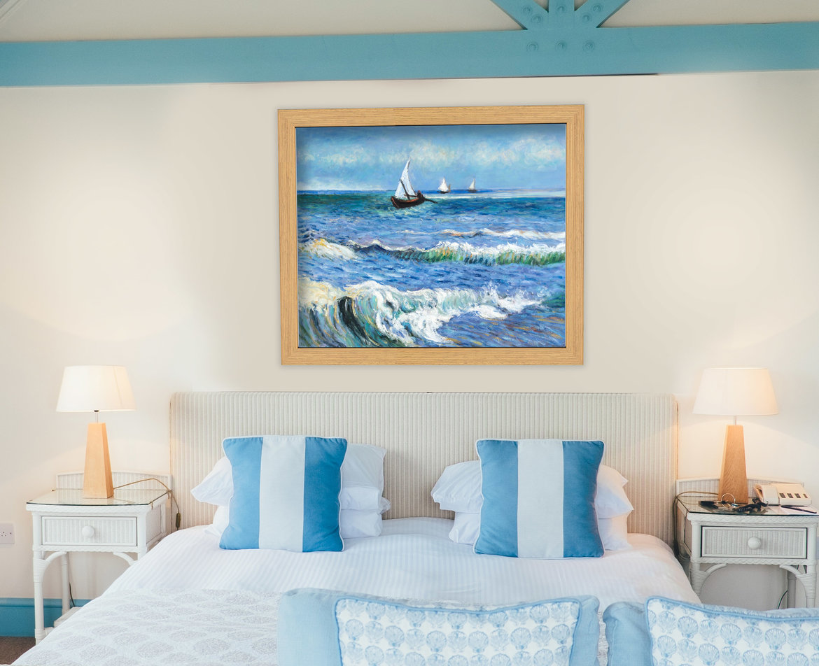 Hand-painted reproduction of Seascape a Saintes-Maries