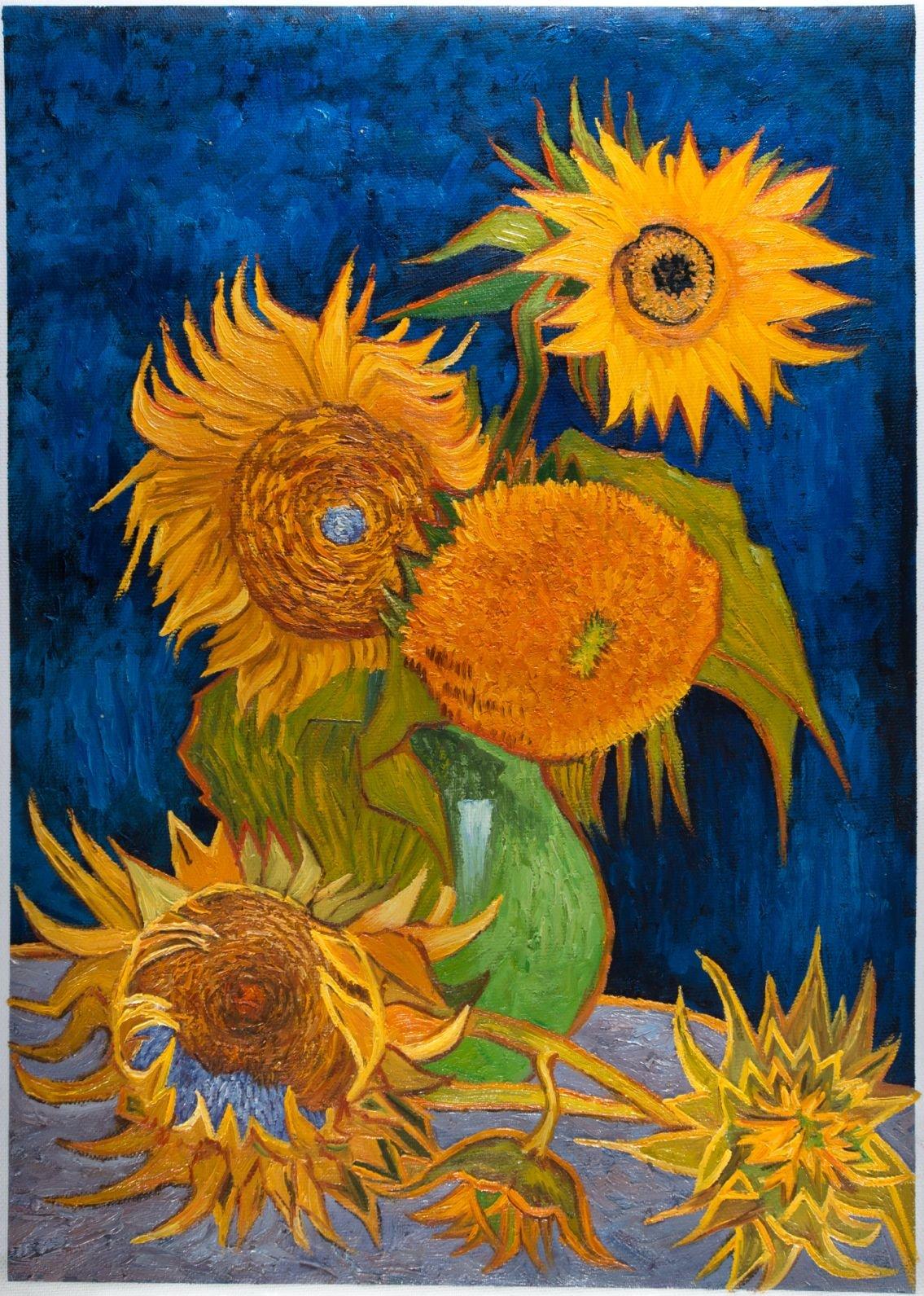Vase With Five Sunflowers Van Gogh Reproduction Van Gogh