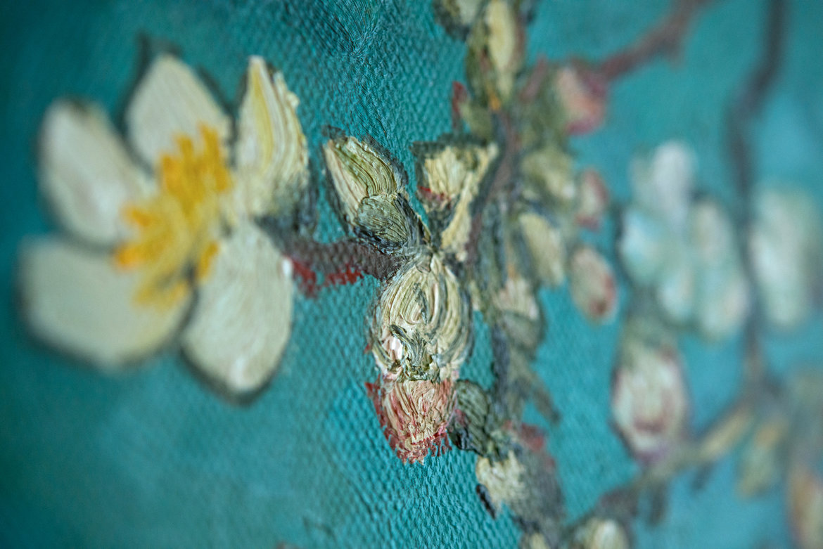 hand-painted blossoming Almond Tree detail