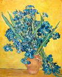 Vase with Irises against a Yellow Background Van Gogh reproduction