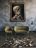 Van Gogh reproduction Skull with Burning Cigarette in interior