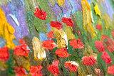 detail Flowering Garden Van Gogh Replica