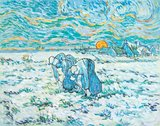 Two Peasant Women Digging in Field with Snow Van Gogh replica
