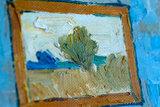 detail Vincents Bedroom in Arles Art institute of Chicago Van Gogh