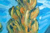 detail Two Poplars in the Alpilles Van Gogh