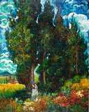 Cypresses with two figures Van Gogh reproduction