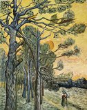Pine Trees at Sunset Van Gogh reproduction