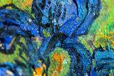 Framed small Irises Van Gogh replica detail