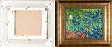 Framed small Irises Van Gogh reproduction back