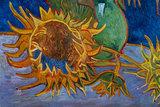 five sunflowers Van Gogh reproduction detail