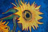 detail five sunflowers Van Gogh reproduction