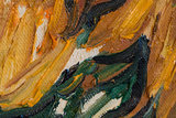 detail Vase with Fifteen Sunflowers Oil Painting Replica