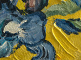 Vase with Irises yellow mini painting, hand-painted in oil on canvas_