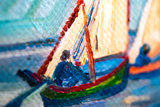 Fishing Boats on the Beach at Saintes-Maries Van Gogh reproduction detail