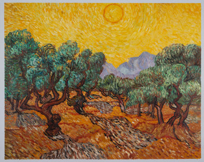 Olive Trees with Yellow Sky and Sun Van Gogh Reproduction, hand-painted in oil on canvas