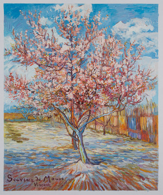 Pink Peach Tree in Bloom Van Gogh Reproduction, hand-painted in oil on canvas