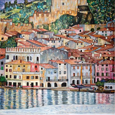 Lake Garda Gustav Klimt reproduction, hand-painted in oil on canvas