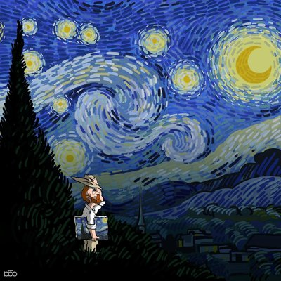 Starry Night Poster by Alireza Karimi Moghaddam